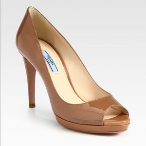 Prada patent leather peep toe pumps